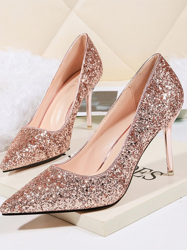Frauen Pfennigabsatz Sparkling Glitter Closed Toe High Heels