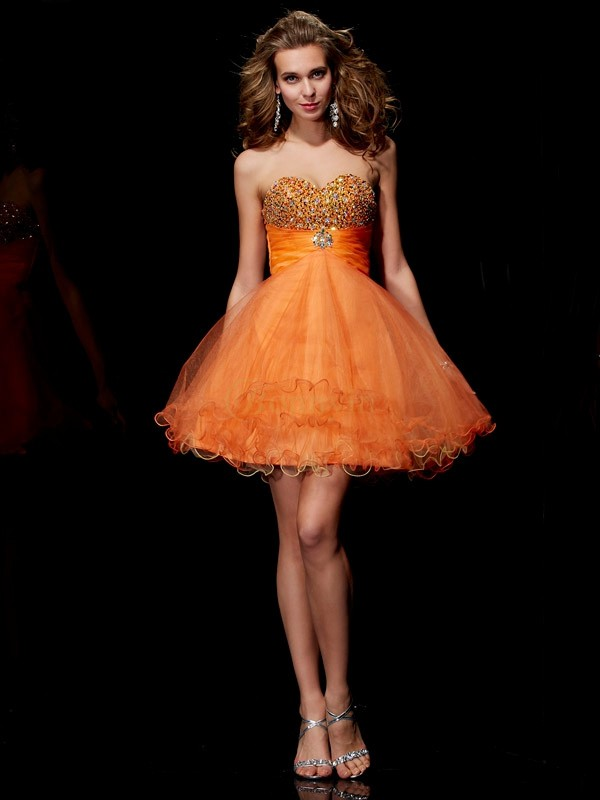 Orange Organza Satin Trägerlos A-Linie/Princess-Linie Kurz/Mini Cocktailkleider