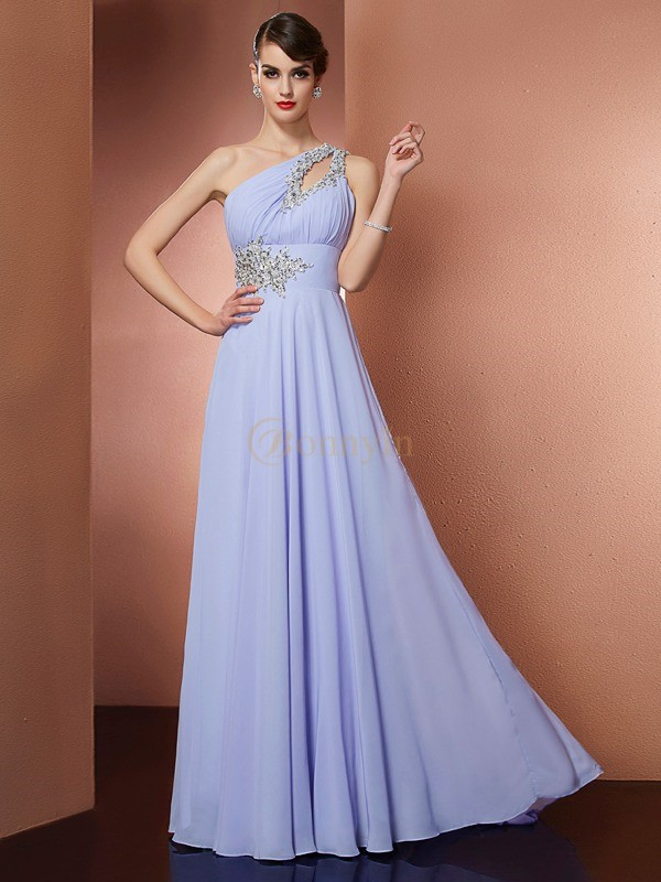Lavendel Chiffon One-Shoulder-Träger A-Linie/Princess-Linie Sweep/Pinsel zug Kleider