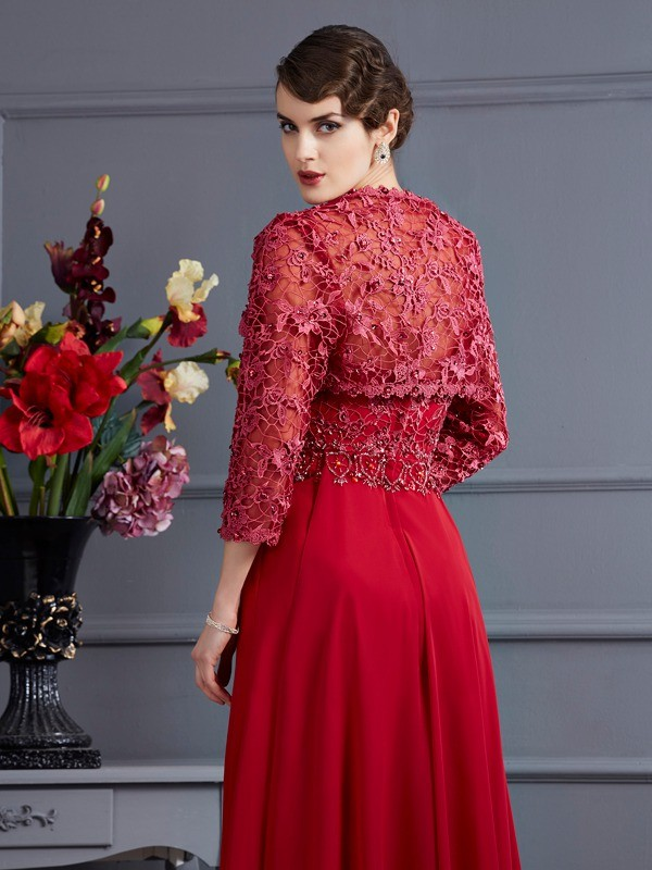Net 3/4 Sleeves Applique Special Occasion Wrap