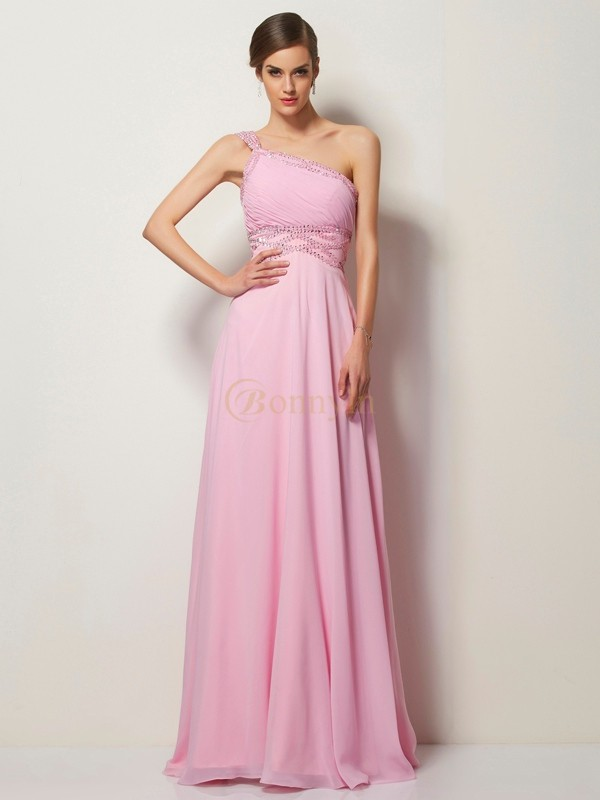 Rosa Chiffon One-Shoulder-Träger A-Linie/Princess-Linie Sweep/Pinsel zug Kleider