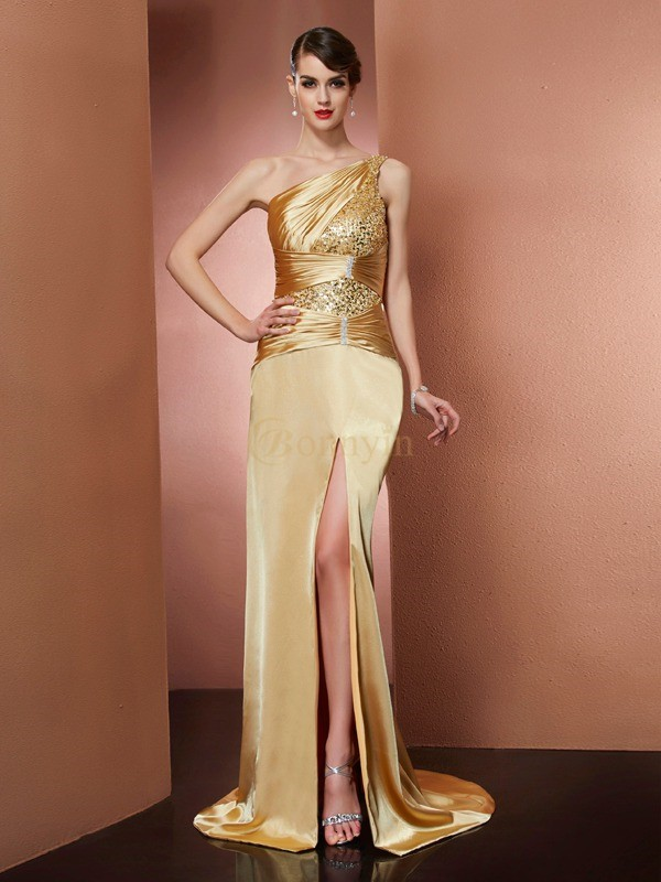 Gold Stretch-Satin One-Shoulder-Träger Etui-Linie Sweep/Pinsel zug Kleider