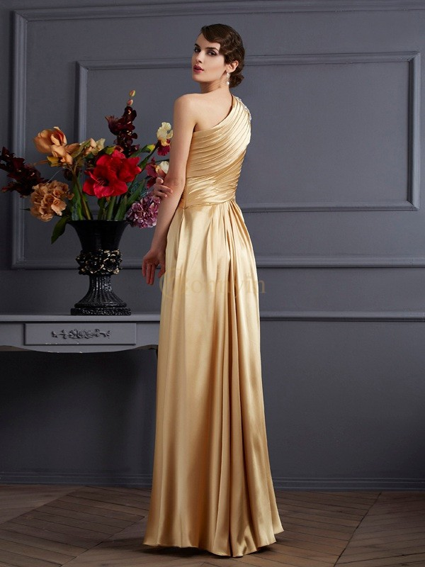 Gold Stretch-Satin One-Shoulder-Träger A-Linie/Princess-Linie Bodenlang Kleider