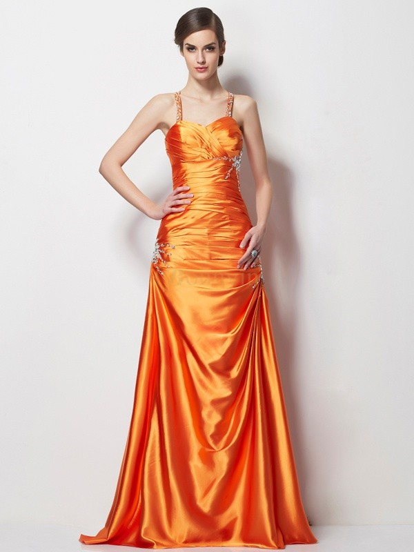 Orange Stretch-Satin Spaghettiträger A-Linie/Princess-Linie Sweep/Pinsel zug Kleider
