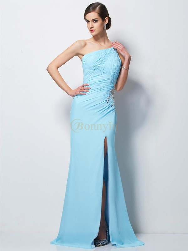Blau Chiffon One-Shoulder-Träger Etui-Linie Sweep/Pinsel zug Kleider