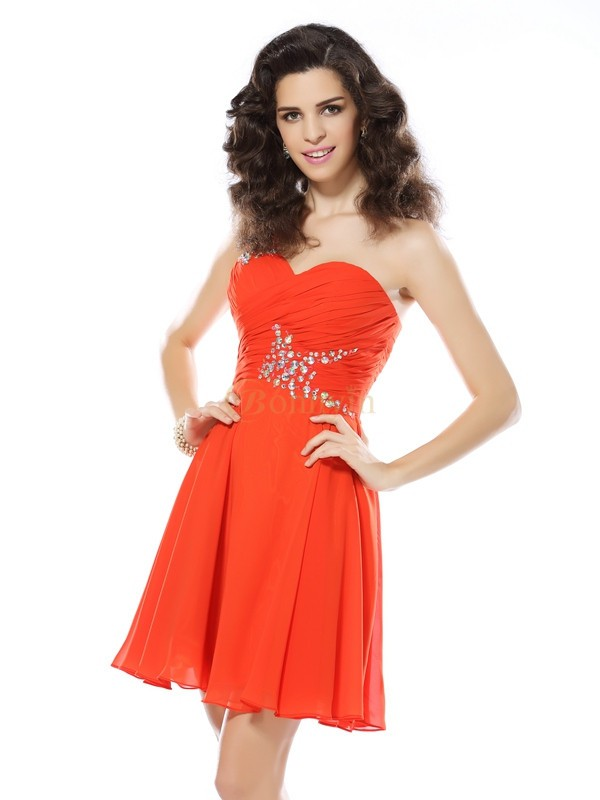 Orange Chiffon One-Shoulder-Träger A-Linie/Princess-Linie Kurz/Mini Kleider