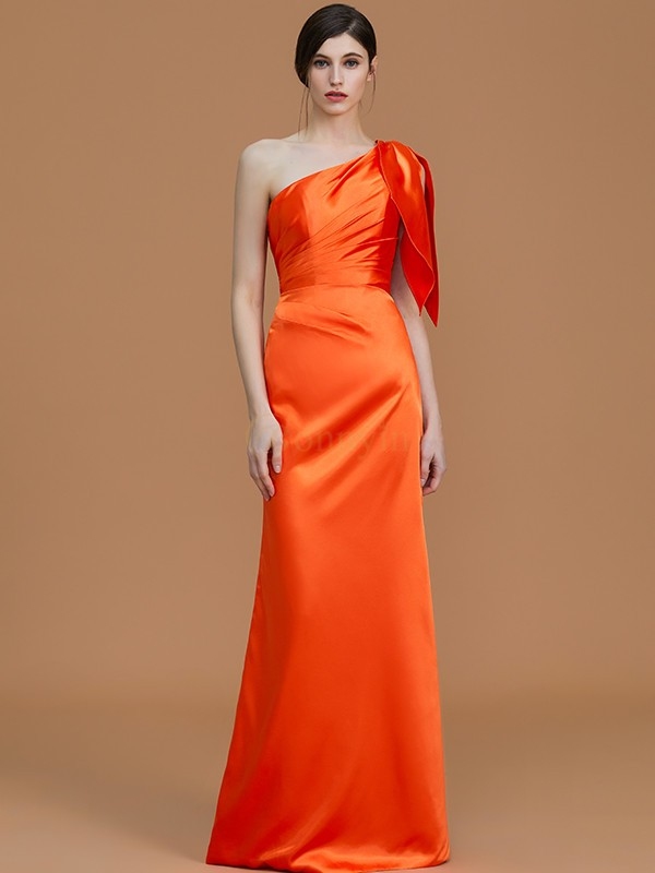 Orange Satin One-Shoulder-Träger Trompete/Meerjungfrau-Linie Bodenlang Brautjungfer Kleider