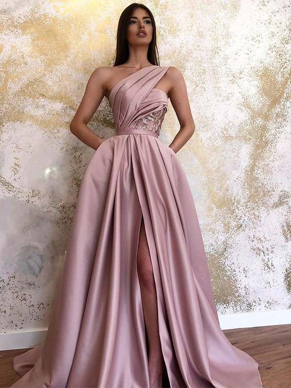 Rosa Satin One-Shoulder-Träger A-Linie/Prinzessin Sweep/Pinsel zug Kleider